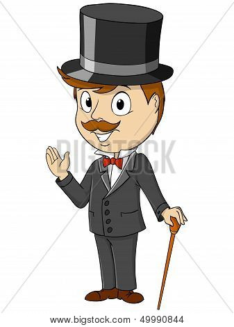 Cartoon Happy Gentleman With Stick