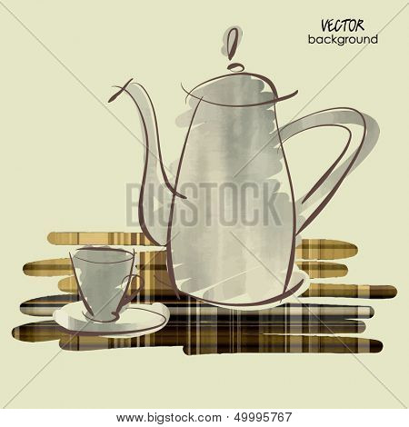 art sketching vector of coffeepot and cup on table in brown and silver colors