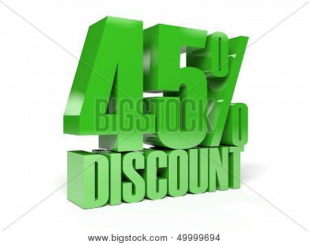 45 percent discount. Green shiny text.