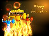Indian festival Happy Dussehra background with statue of Ravana, Meghnath and Kumbhkaran in fire.  poster