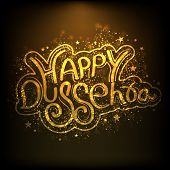 Shiny golden text Happy Dussehra on brown background for Indian festival.  poster