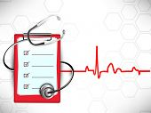 Medical background with stethoscope and doctors prescription pad on heartbeat symbol background. poster