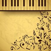 Vintage musical background with piano and musical notes, can be use as flyer, poster, banner or background for musical parties and concert. poster