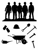 silhouette of five miners and stuff for edit poster