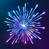 Bright neon shining lights blue and violet vector firework poster