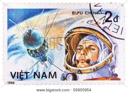 Postage Stamp Printed In Vietnam Shows First Spaceman Yuri Gagarin