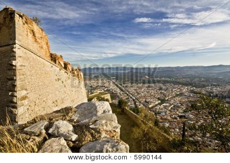Scenic Nafplio city and Palamidi castle at Peloponissos peninsula in Greece