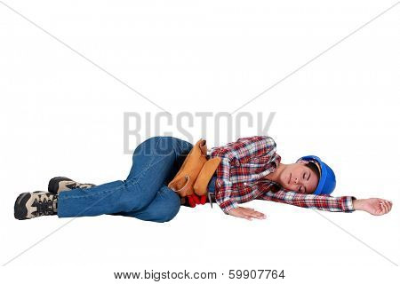 Tradeswoman sleeping on the job