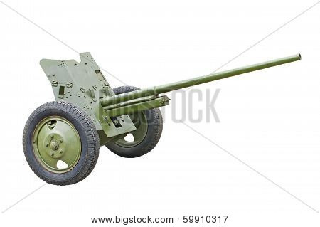 45-mm Russian division cannon gun from WWII isolated on white background. poster