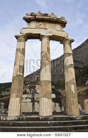 Temple of Athena pronoia at Delphi in Greece