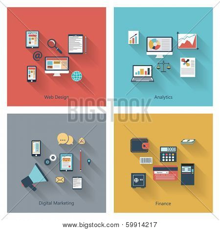 Modern concepts collection in flat design with long shadows and trendy colors for web, mobile applications, digital marketing, finance, social networks, analytics etc. Vector eps10 illustration
