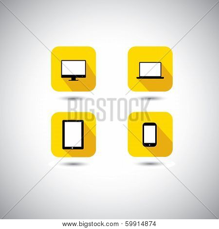 flat design vector icon - computer laptop smartphone & tablet symbols. This graphic illustration with long shadows also represents technology gadgets like PC cellphone notepad etc poster