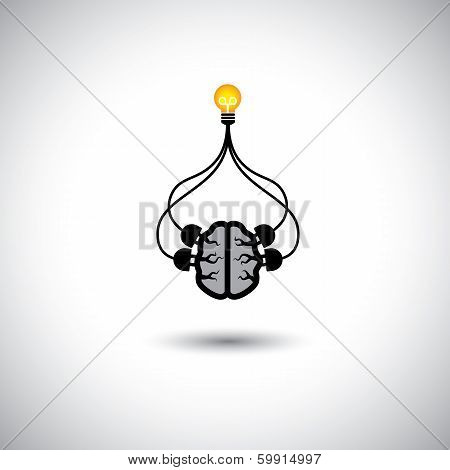 Icon Of Bulb & Brain Connected - Vector Concept Of Idea Creation