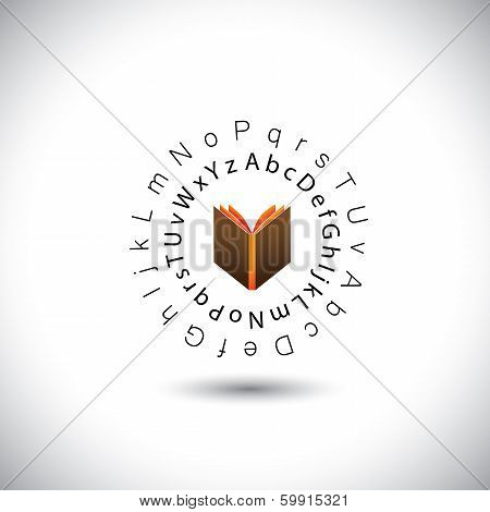 Learning & Education Concept Vector - Book Icon With Alphabets