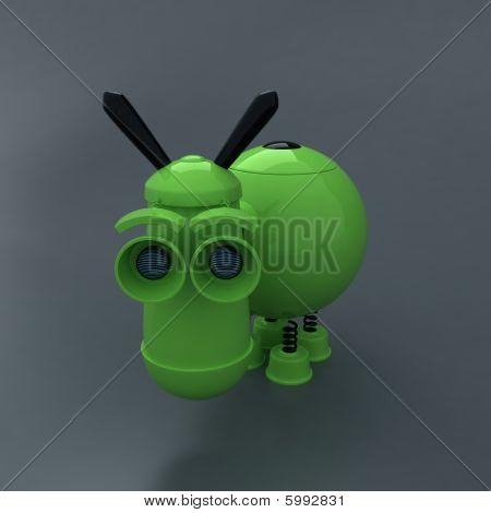 Internet symbol - donkey. Cute eletronic toy. Eyes like camera poster