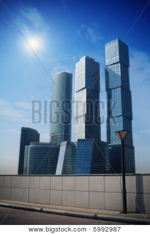 Business buildings. Business center in Moscow. Glass towers.