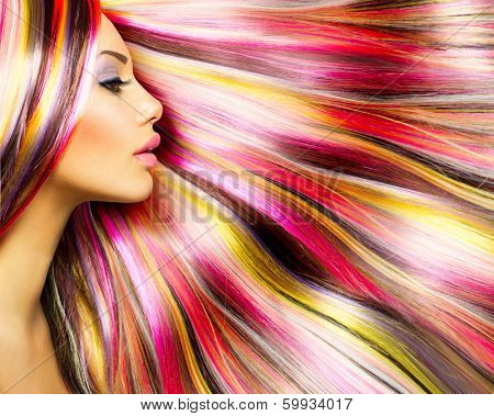 Beauty Fashion Model Girl with Colorful Dyed Hair. Colourful Long Hair. Portrait of a Beautiful Girl with Dyed Hair, professional hair Coloring. Colouring hair poster