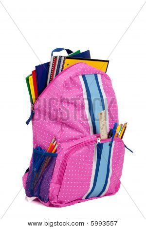 Pink Backpack With School Supplies On White Background