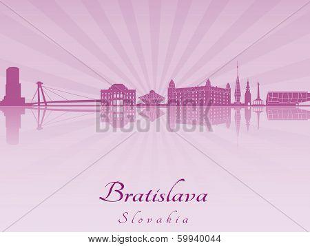 Bratislava Skyline In Purple Radiant Orchid