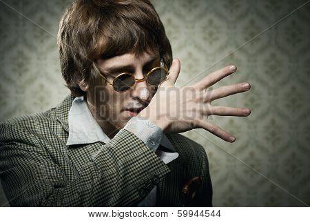 Vintage Guy Enjoying Drugs