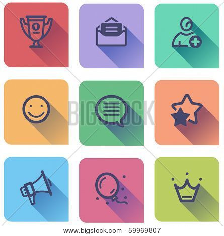 flat icons set - best choice, mail, registration,feedback, message, rate, news, apps, membership
