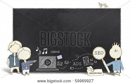 Web Experts With Blank Blackboard