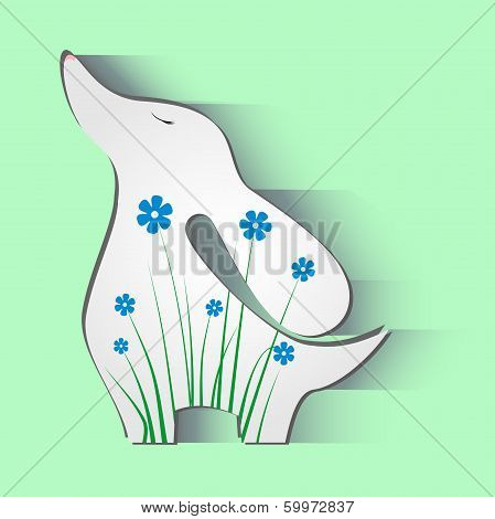 Dog Flowers Animals Background Illustration Art Silhouette