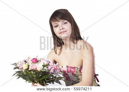 Young Woman With Flowers Isolated