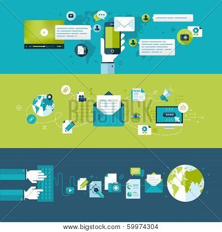 Set of flat design vector illustration concepts for email