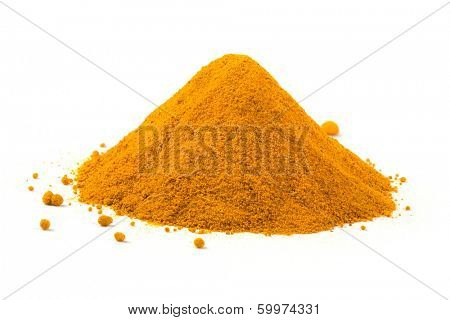 Heap ground turmeric isolated on white background