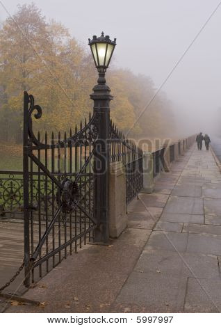Gate Streetlight In Fog