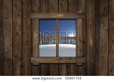 Winter Cabin Window