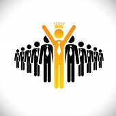 corporate employee beating competition - success vector concept. This graphic illustration also represents achievement climbing the ladder best employee beating rivals achieving glory poster