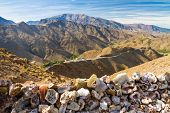 Morocco High Atlas Mountains The Tizi N'Tichka pass - 2260 meters above sea level. The main road between Marrakesh and Ouarzazate. poster