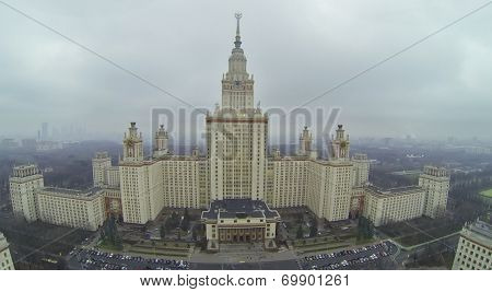Main building of Moscow State University named after Mikhail Lomonosov, aerial view