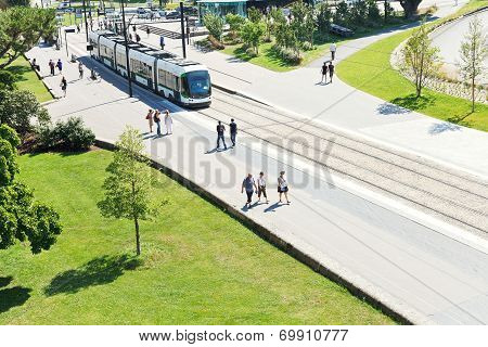 Tramway On Street Cours John Kennedy In Nantes