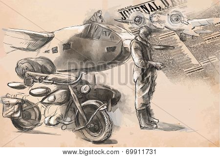 At The Airport - A Soldier On A Motorcycle Between Aircraft. Vector