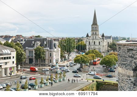 Cityscape With St Laud's Church In Angers, France