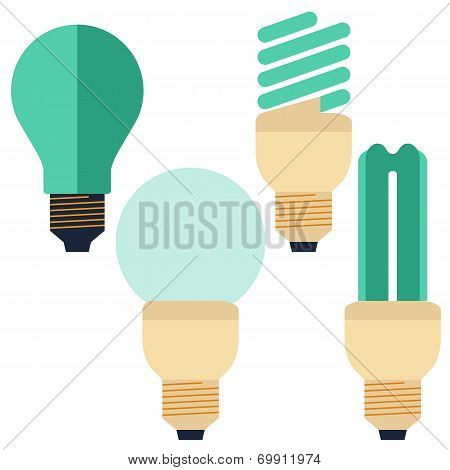 Flat Energy Saving bulb, compact fluorescent lamp and Incandescent lamp