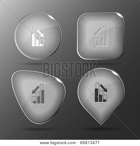 Graph degress. Glass buttons. Raster illustration.