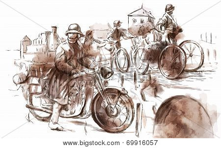 Vintage picture from the series: World between 1905-1949. Soldiers on bicycle and a soldier on a motorcycle (military front in the country). An hand drawn vector illustration (converted). poster