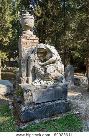 Sculpture Of Mary In A Tomb In Corfu Town In The Ancient British Cemetery.