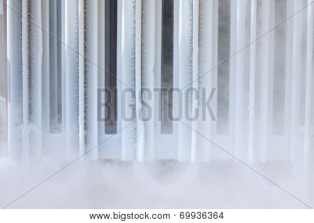 Ice on tubing when supply nitrogen to process, Container with liquid nitrogen, lot of vapour, cool i
