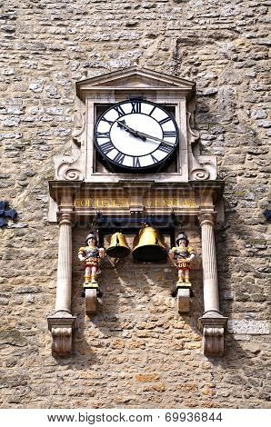 Quarterboys clock on Carfax Tower.