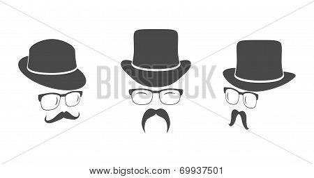 Vintage design elements set like gentlemen's face (hats eyeglasses moustaches). Hipster fashion. Man style. Vector illustration. poster