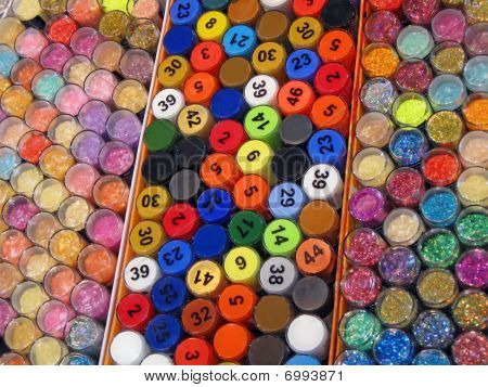 Pile Colorful Bottles, Lottery