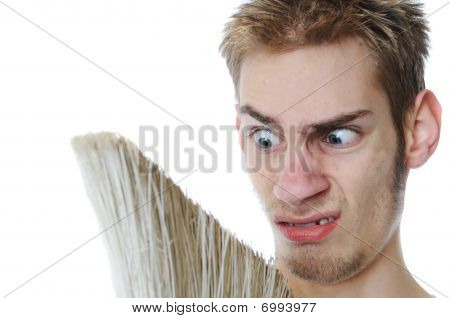 Young Janitor Grossed Out