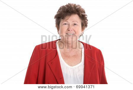 Pretty Older And Smiling Woman In Red Isolated Over White Background.