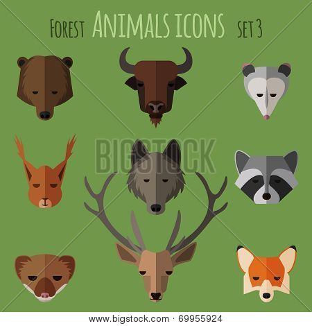 Forest animals flat icons.