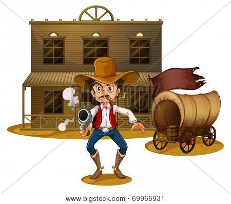 Illustration of an armed man near the wagon on a white background